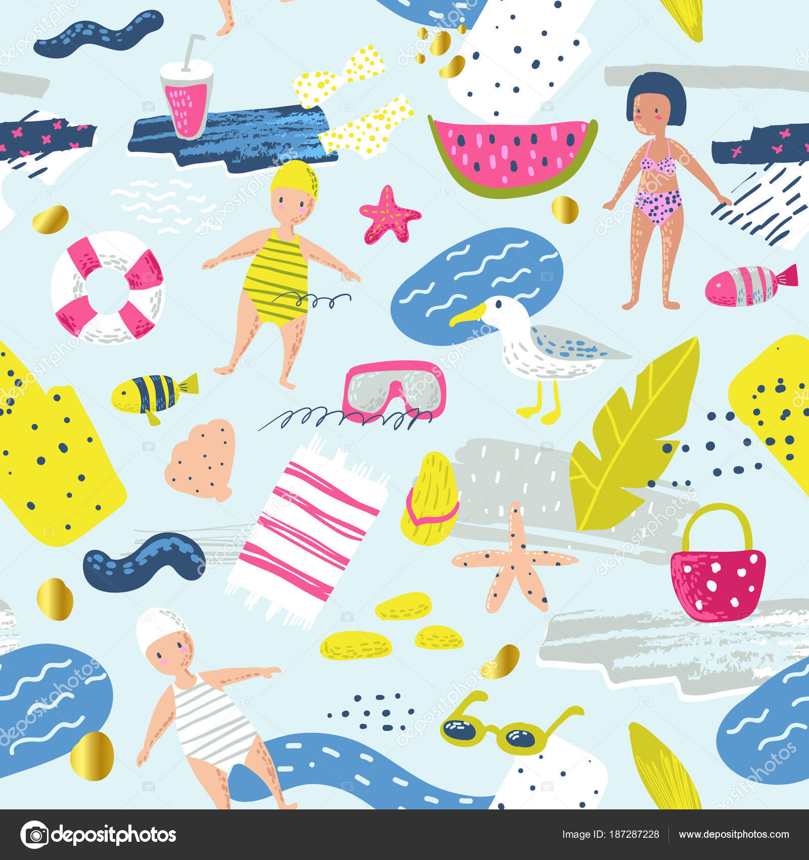 childish summer beach vacation seamless pattern with kids, fish and