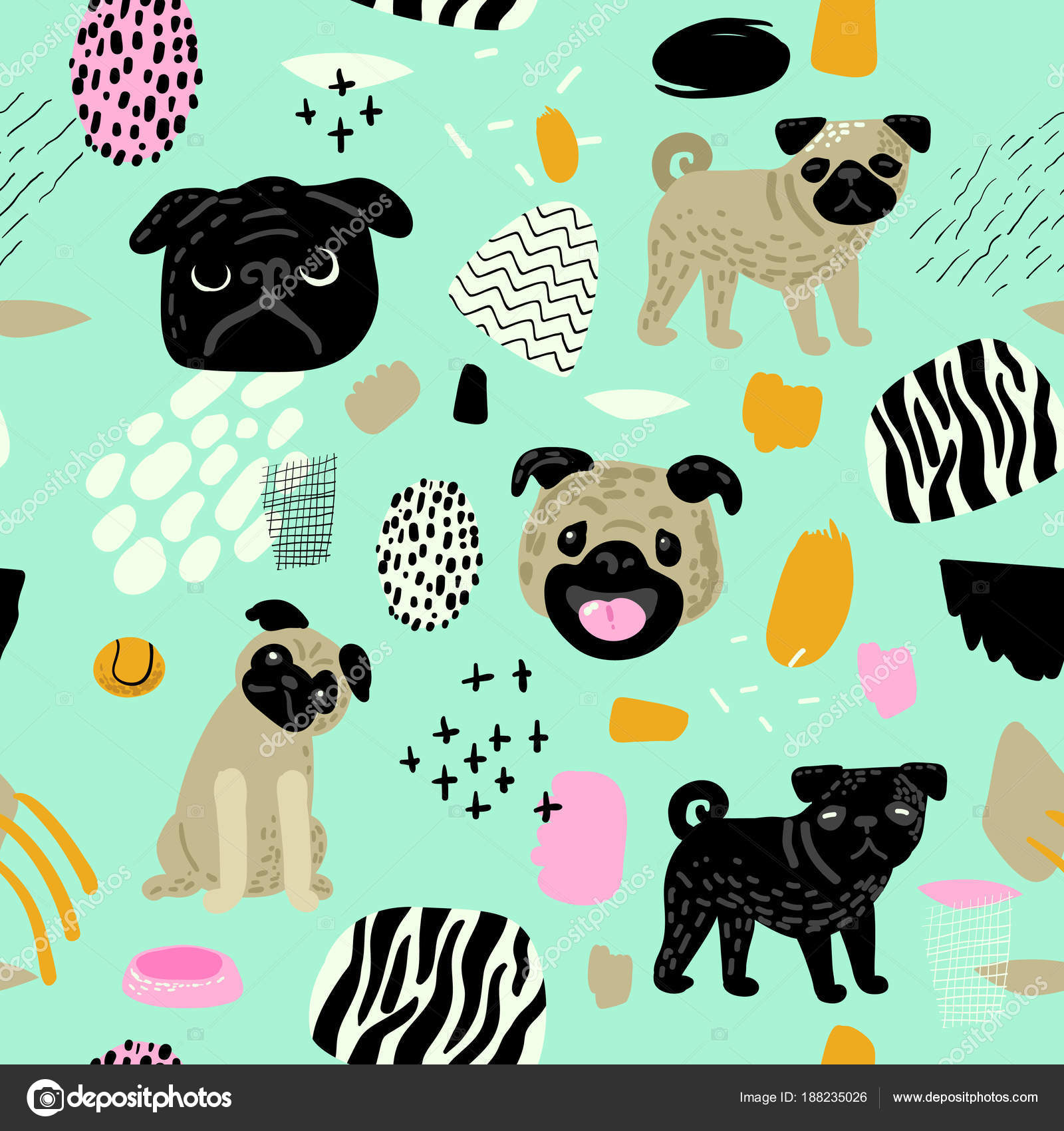 Wallpapers Baby Pug Wallpaper Cute Dogs Seamless Pattern Childish Background With Pug Puppies And Abstract Elements Baby Freehand Doodle For Fabric Textile Wallpaper Wrapping Vector Illustration Stock Vector C Vectorlab 188235026