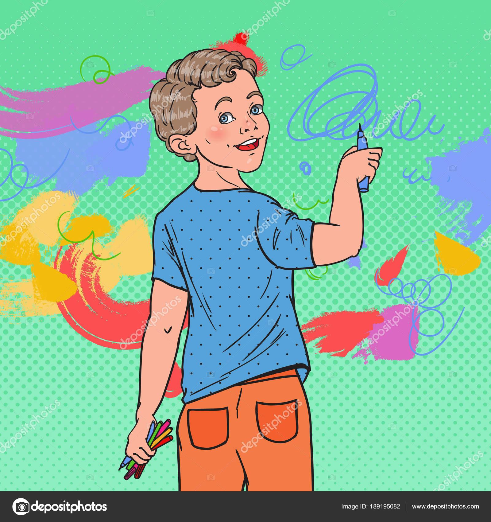 Pop Art Okul öncesi çocuk çizim Duvarda Neşeli çocuk Boyama Boya