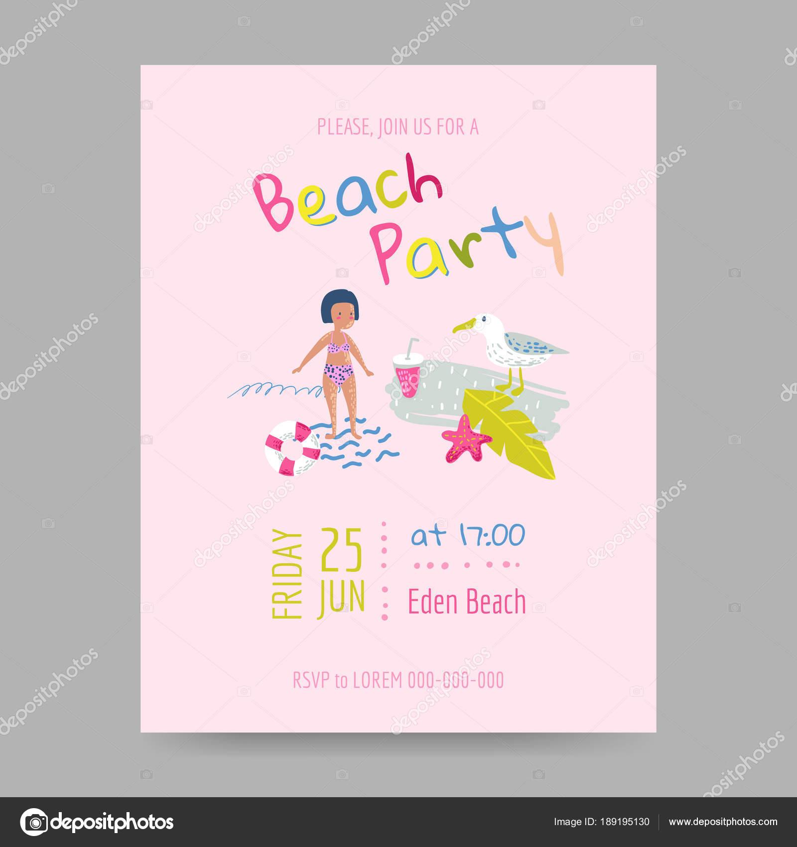 Vector Invitacion A Fiesta Infantil Tarjeta De Playa De Verano