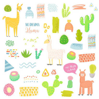 Llamas Childish Elements Set with Cactuses and Alpacas. Hand Drawn Lamas for Fabric Textile, Wrapping Paper, Decoration, Children Invitations. Vector illustration