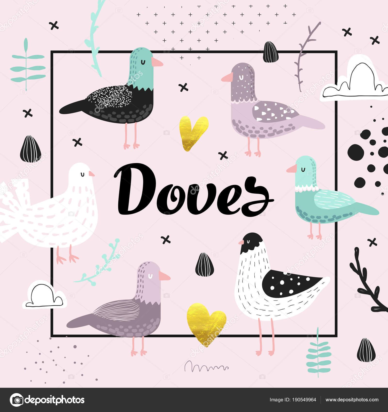 かわいい鳩とデザインのベビー シャワー。創造的な手描きっぽい鳥鳩の