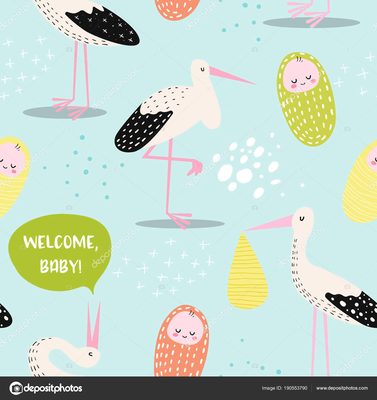 baby shower seamless pattern with cute stork and newborn child. baby