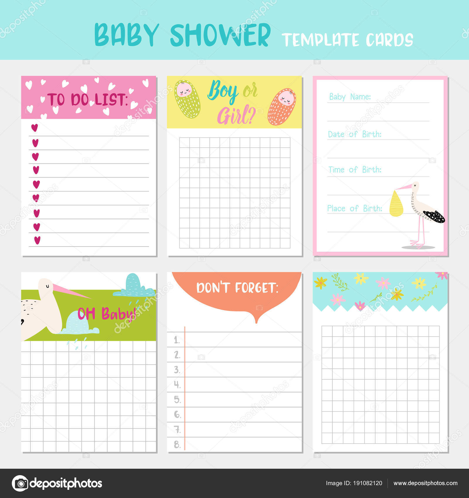 baby shower party templates to do list newborn child card childish backgrounds with
