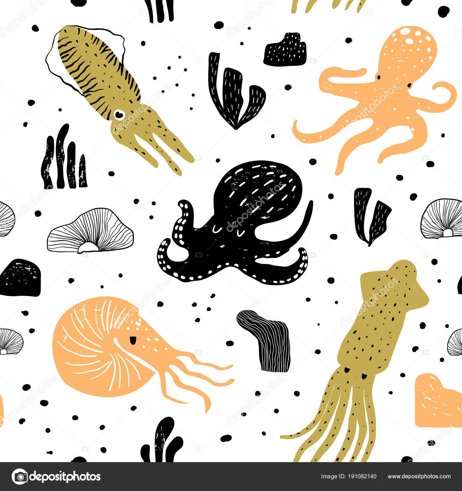 Patrón sin fisuras con Pulpo lindo. Criaturas submarinas infantil ...