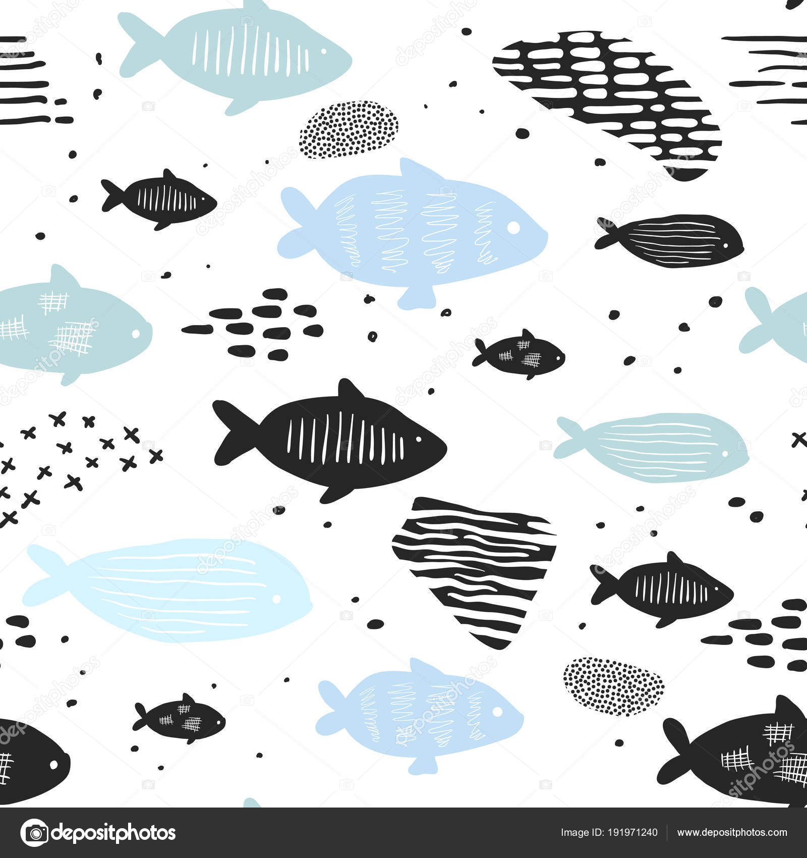 Patrones sin costuras náuticos infantiles con lindo pescado. Fondo ...