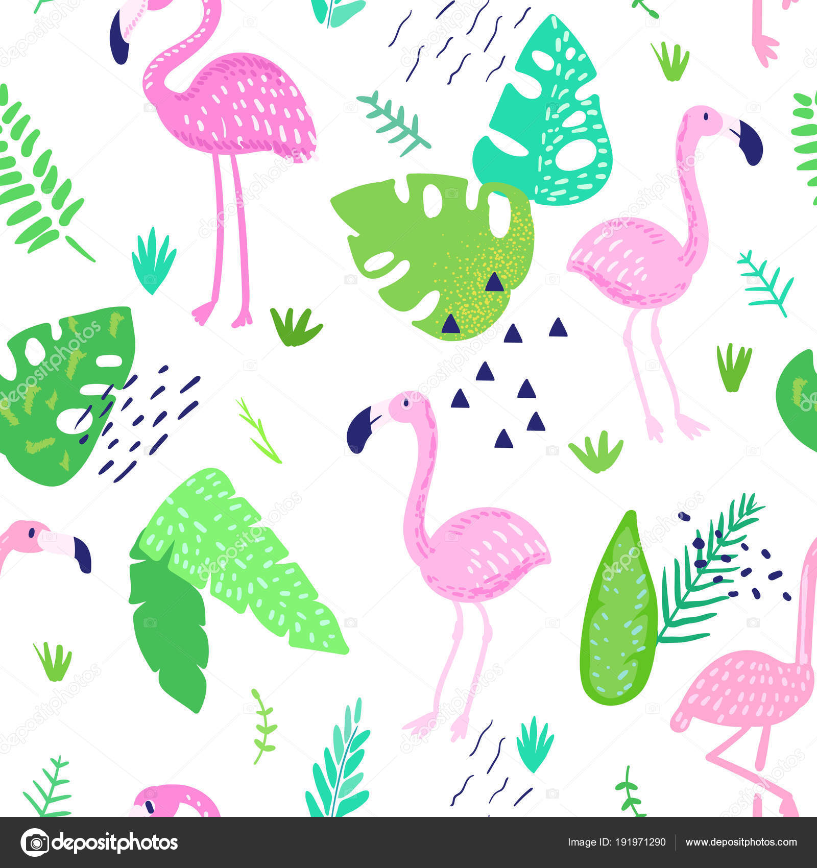 Tropical Seamless Pattern With Cute Flamingo And Palm Leaves Childish Summer Background For Wallpaper