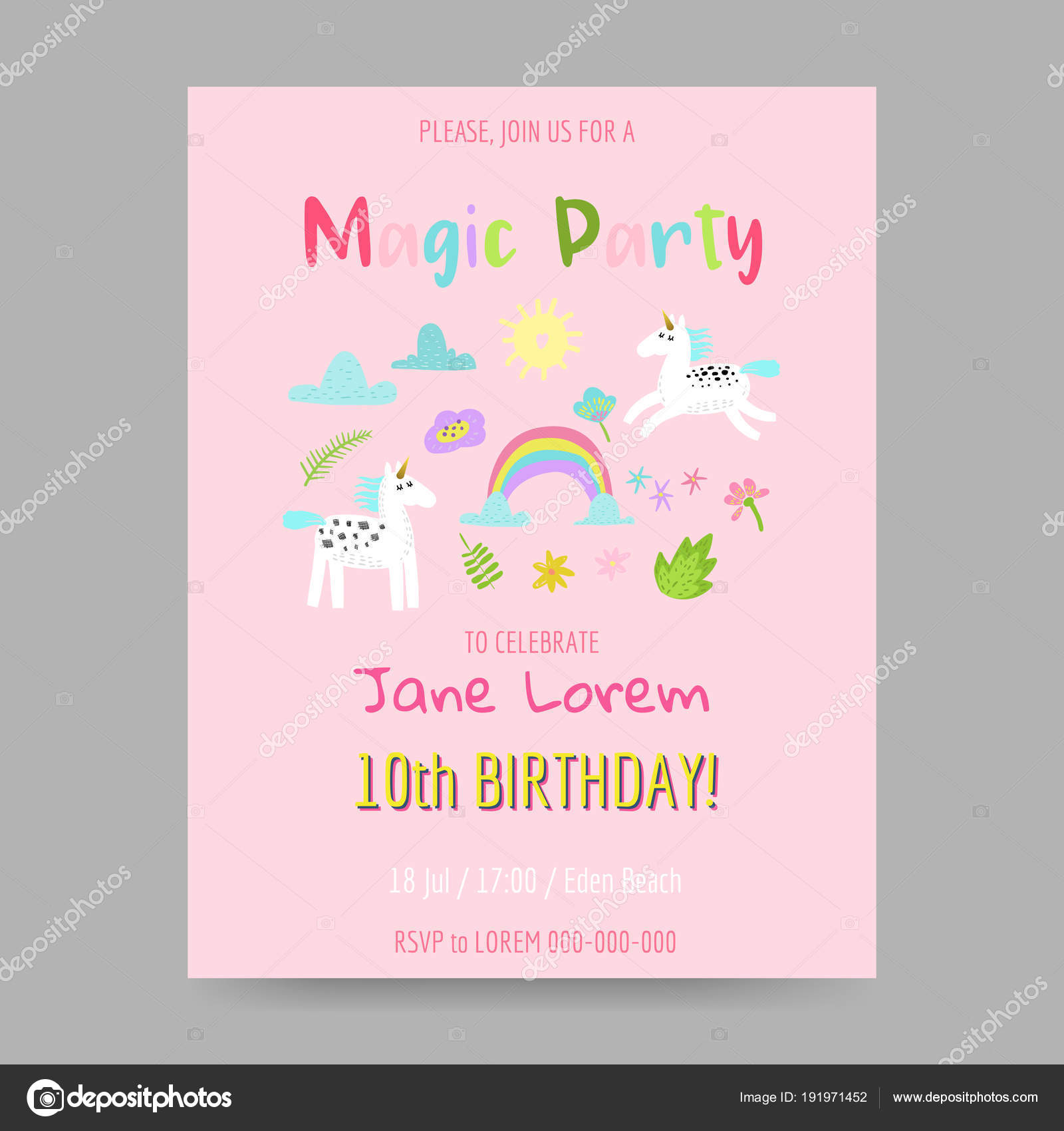 Fantasy Children Poster Happy Birthday Invitation Hand Drawn Childish Postcard Vector Illustration By Vectorlab
