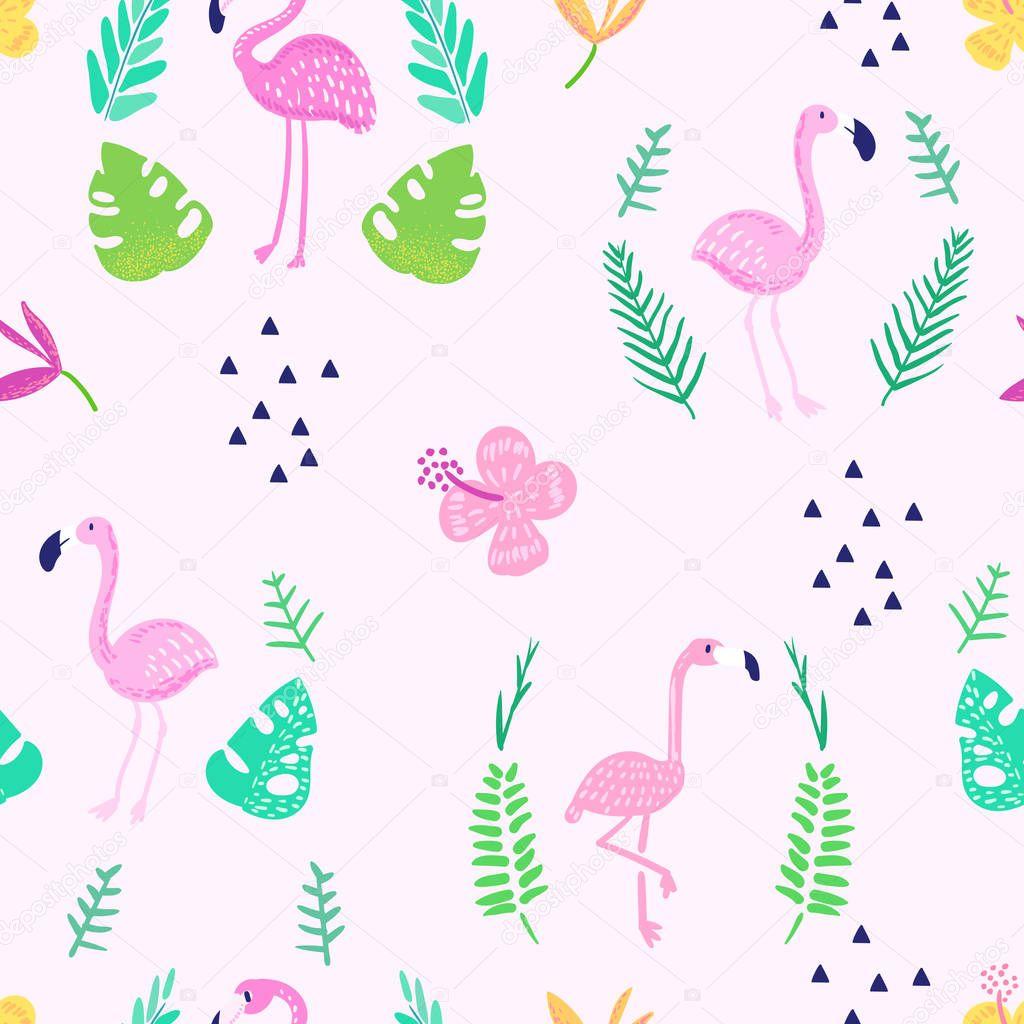 Тропические бесшовный узор с милой фламинго и экзотических