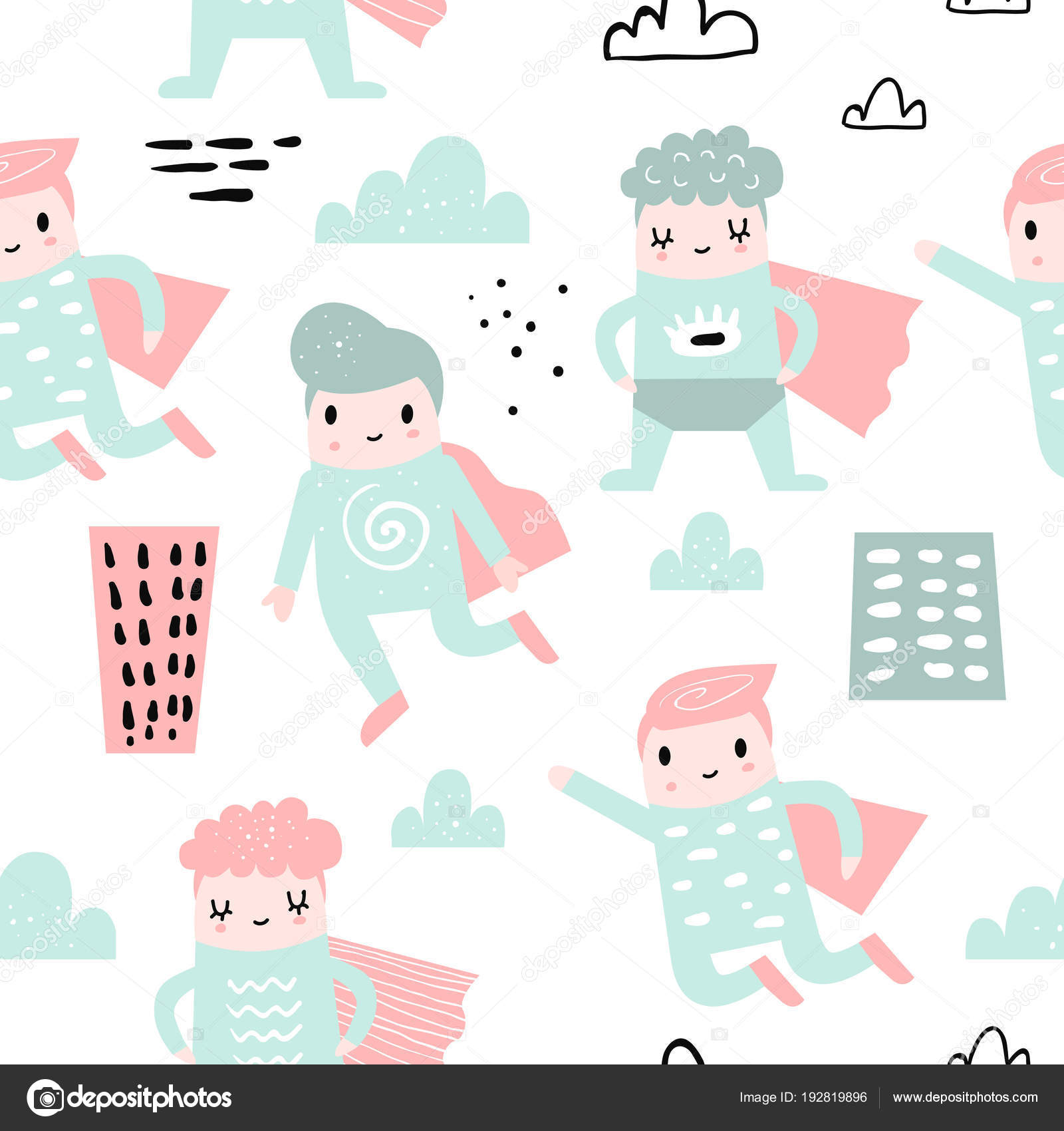 Childish Seamless Pattern With Boy Super Hero Children