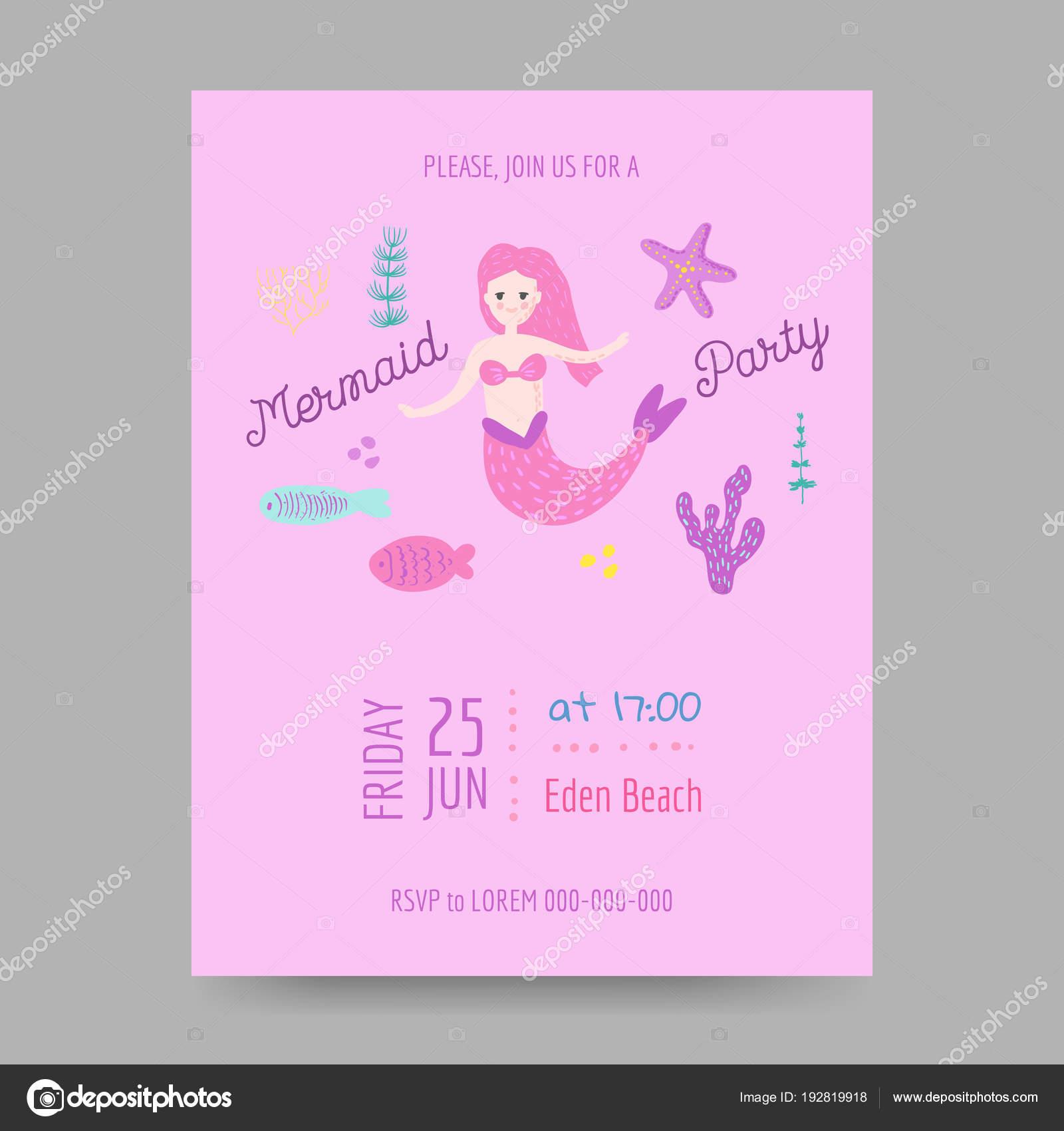 Plantilla de invitación de cumpleaños infantil con Linda sirena y ...