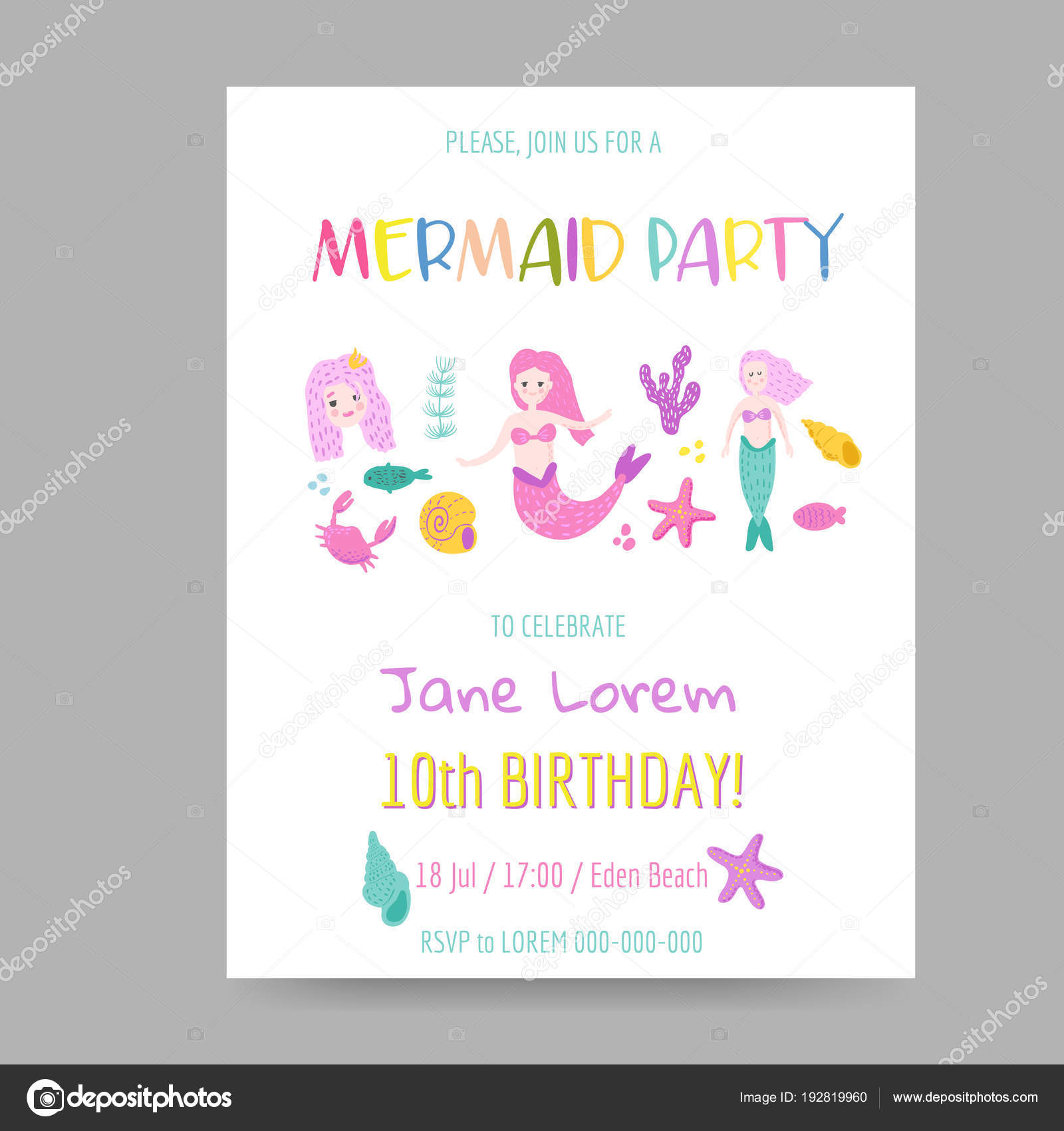 Childish Birthday Invitation Template with Cute Mermaid and Underwater Creatures. Girls Celebration Party Decoration. Hand Drawn Greeting, Baby Shower.