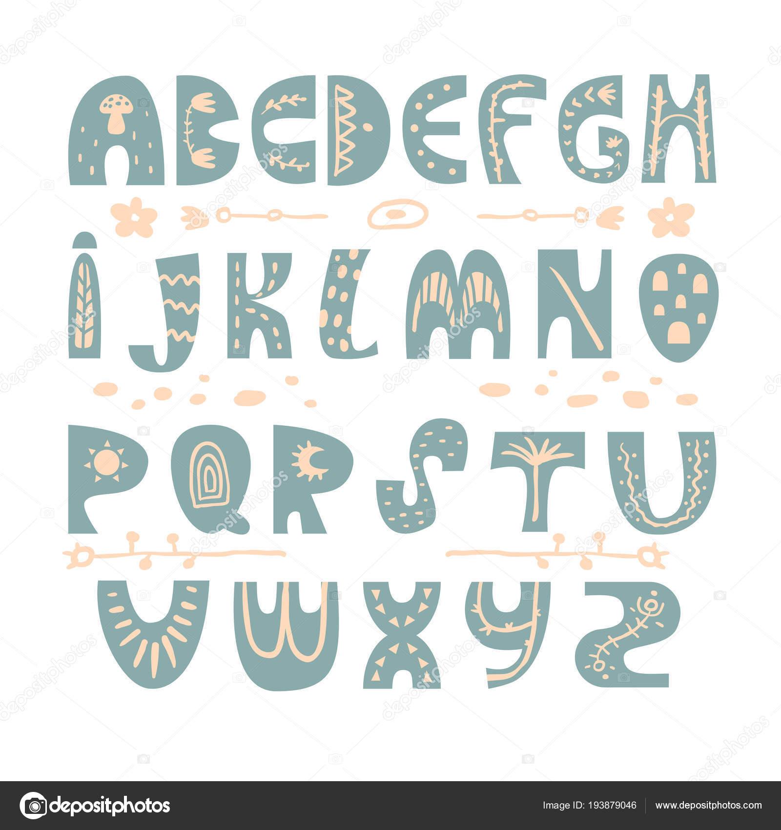 Resumen mano infantil alfabeto dibujado. Fuente de estilo ...