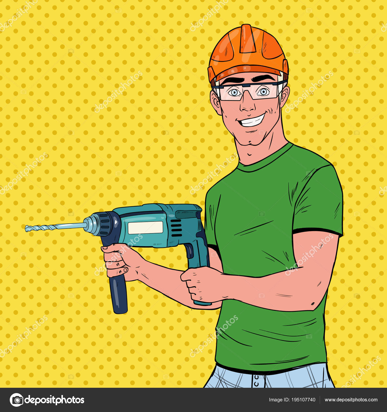 Pop Art Man Drilling the Wall with Perforator — Stock Vector ...