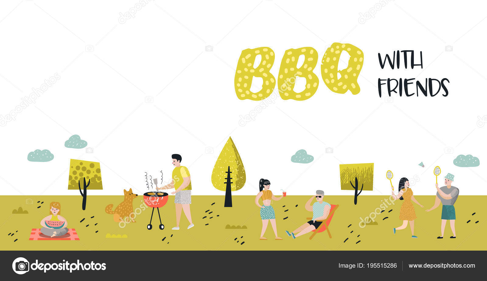 park landscape with active people on bbq party friends on summer