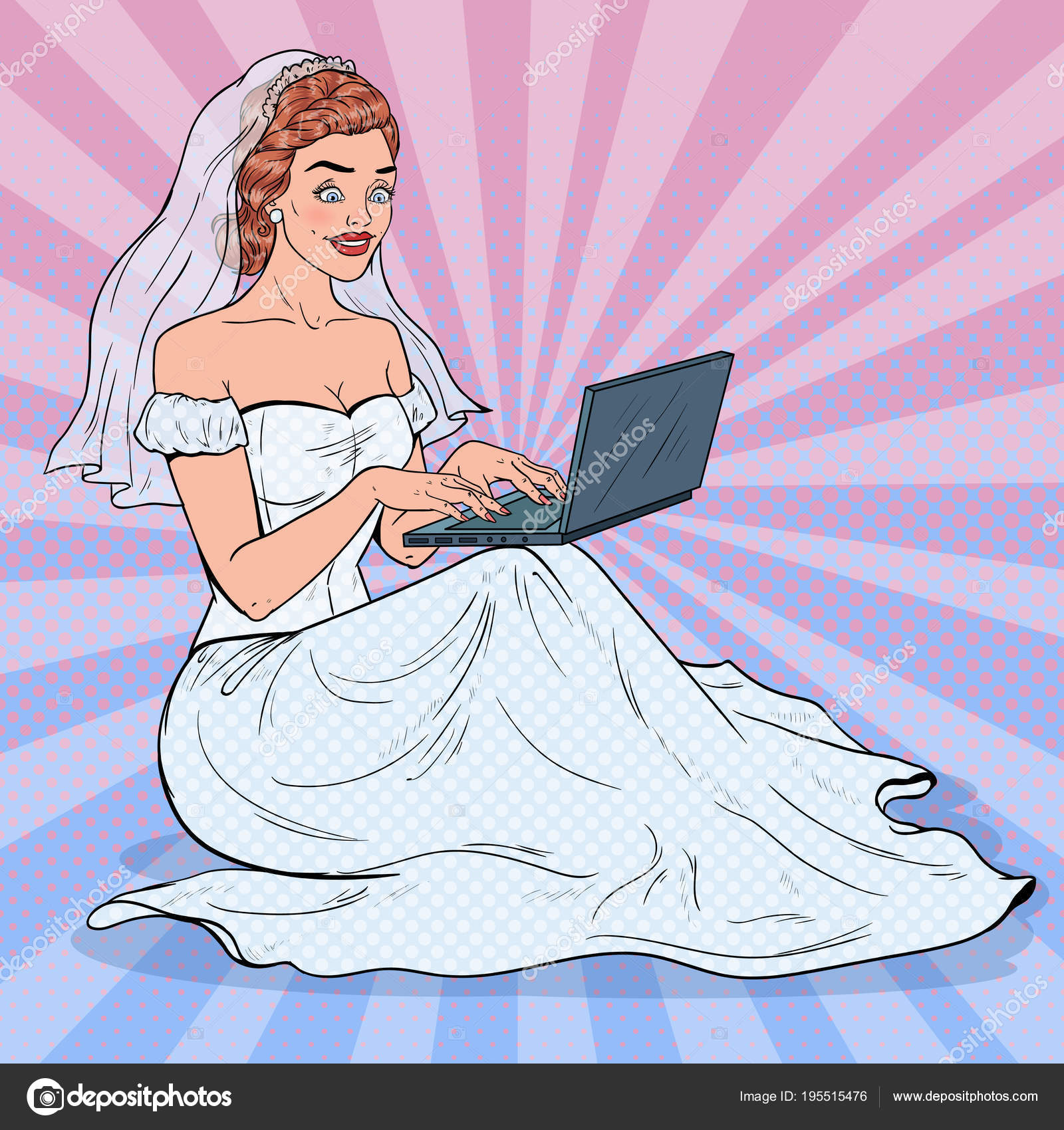 Pop Wedding Dress.Pop Art Bride With Laptop Happy Woman In Wedding Dress Shopping