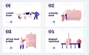 Farm Production Department, Milk Industry Website Landing Page. People on Plant Producing Milky Food with Machine Assistance. Dairy Factory Manufacture Web Page Banner Cartoon Flat Vector Illustration stock vector