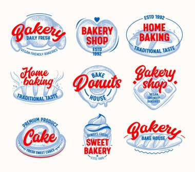 Home Baking Tags and Labels Set Isolated on White Background. Vegan Friendly Traditional Taste healthy Production, Bread, Donuts and Sweet Cakes. Objects for Pack Design Cartoon Vector Illustration icon