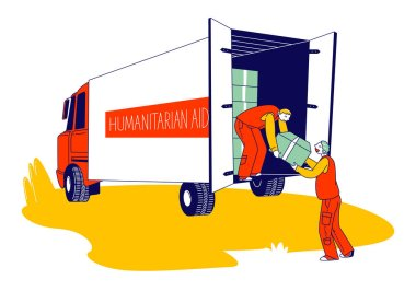 Volunteers Distribute Boxes with Humanitarian Aid. Distribution of Food and Basic Necessities to Refugees, Poor People in Need and Vulnerable Social Groups Cartoon Flat Vector Illustration, Line Art