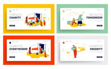Vulnerable Social Groups Need Material Assistance Website Landing Page Set. Poor People and Families with Finance Problems Humanitarian Aid Web Page Banner. Cartoon Flat Vector Illustration, Line Art