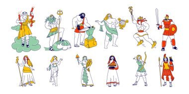 Set of Powerful Ancient Greek Gods and Goddess. Zeus Poseidon Hephaestus, Vulcan Apollon Hermes Ares, Hera Athena Minerva Demeter Aphrodite Hestia, Mythology Dieties. Linear People Vector Illustration