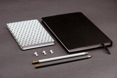 Stationery on grey table. Office stuff.