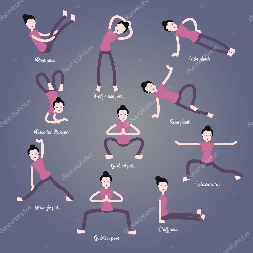 Preferência Menina dos desenhos animados em poses de ioga com títulos para  VN57