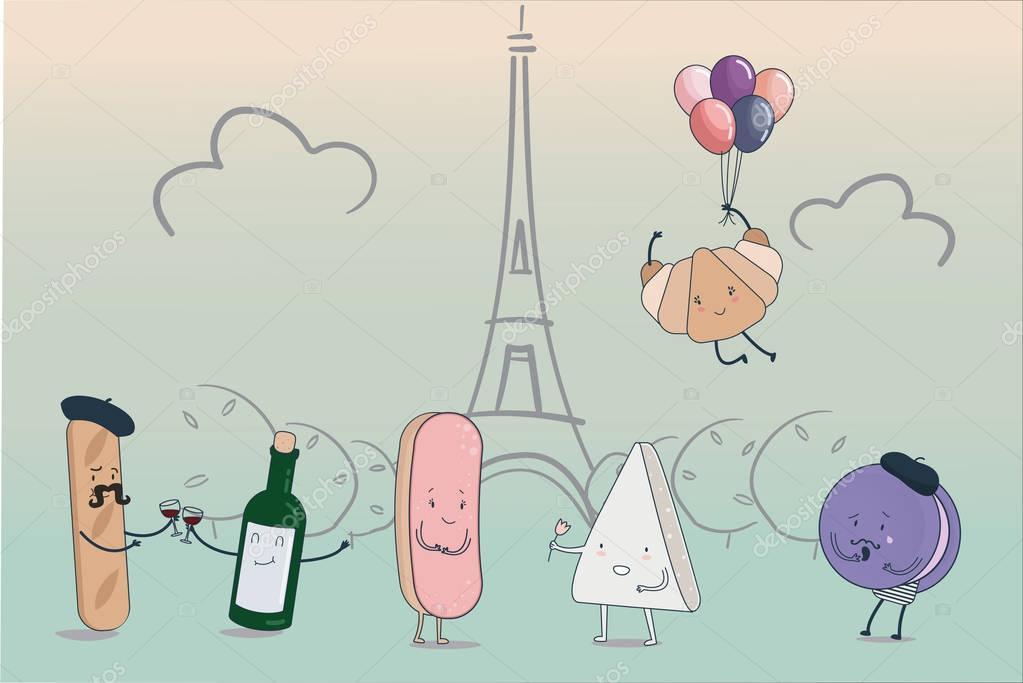 Französische küche comic  Comic-Figuren-set traditionelle französische Küche mit skizzierten ...
