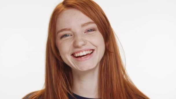 girl laughing on white background