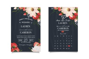 Modern wedding invitation with calendar planner and matched wedding day