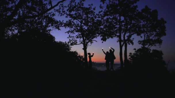 silhouettes of young cheerful people having fun in forest during evening standing under trees holding bengal lights slow motion