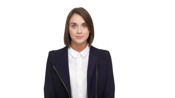 portrait of lovely businesswoman with short dark hair in formal wear being happy at work smiling on camera showing perfect teeth over white background. Concept of emotions