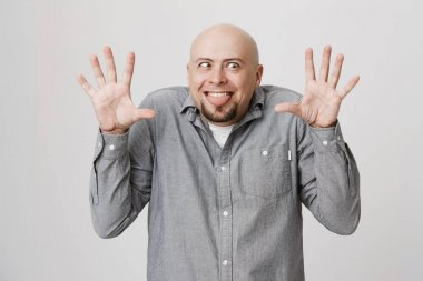 Indoor shot of bald bearded man making grimace with slanting eyes, posing against gray background with opened palms, sticking out his tongue. Positive face expression and emotions