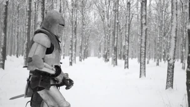 Medieval knight armed with steel weapon walking through winter forest, covered with snow in slow motion. Reconstruction of ancient times