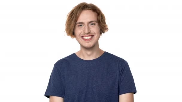 Portrait Of Joyous Hairy Man In Casual T Shirt Laughing With Perfect Teeth And Expressing Joy Isolated Over White Background Concept Of Emotions Stock