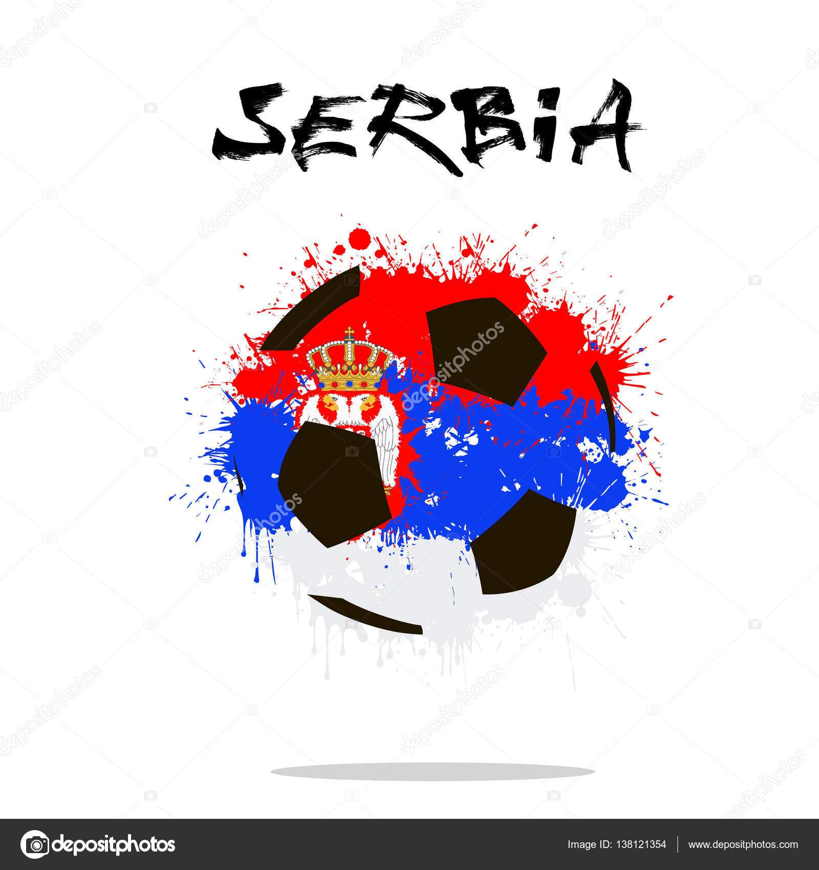 Balón de fútbol abstractos pintados en los colores de la bandera de Serbia.  Ilustración de vector — Vector de Mityay PG b5402fee218ce