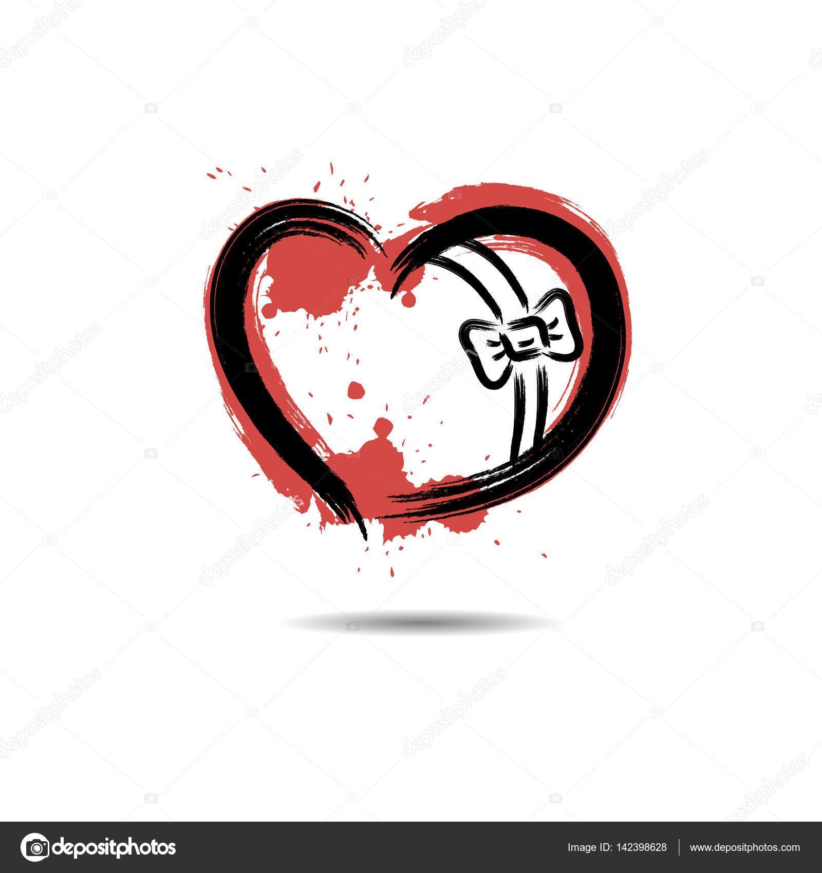 Hediye Lekesi Boya Ile çizilmiş şeklinde Soyut Kalp Stok Vektör