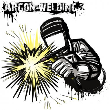 Welder in a mask performing argon welding of the metal