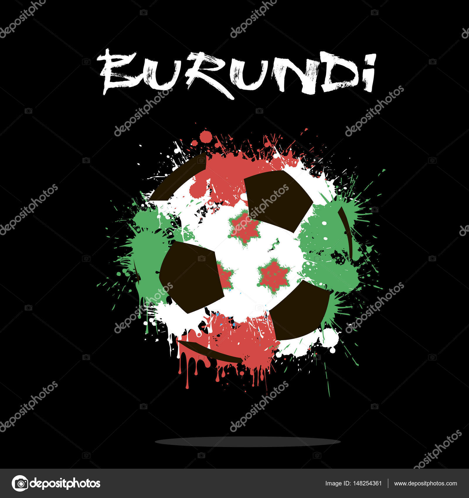 Balón de fútbol abstractos pintados en los colores de la bandera de  Burundi. Ilustración de vector — Vector de ... 42061ab98552c