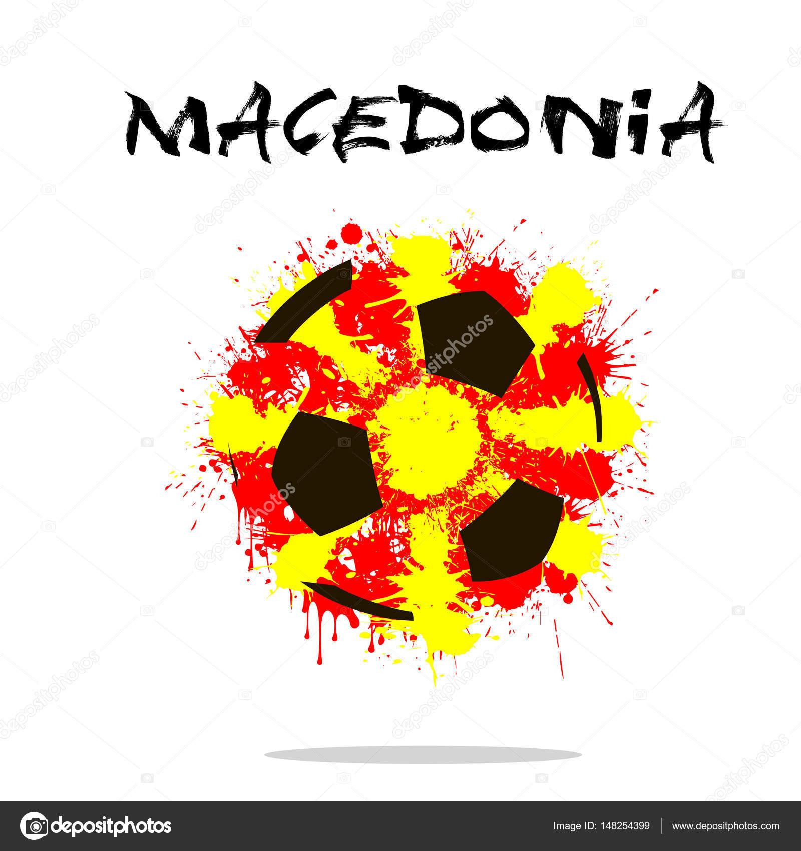 Balón de fútbol abstractos pintados en los colores de la bandera de  Macedonia. Ilustración de vector — Vector de Mityay PG 307c35ca8e836