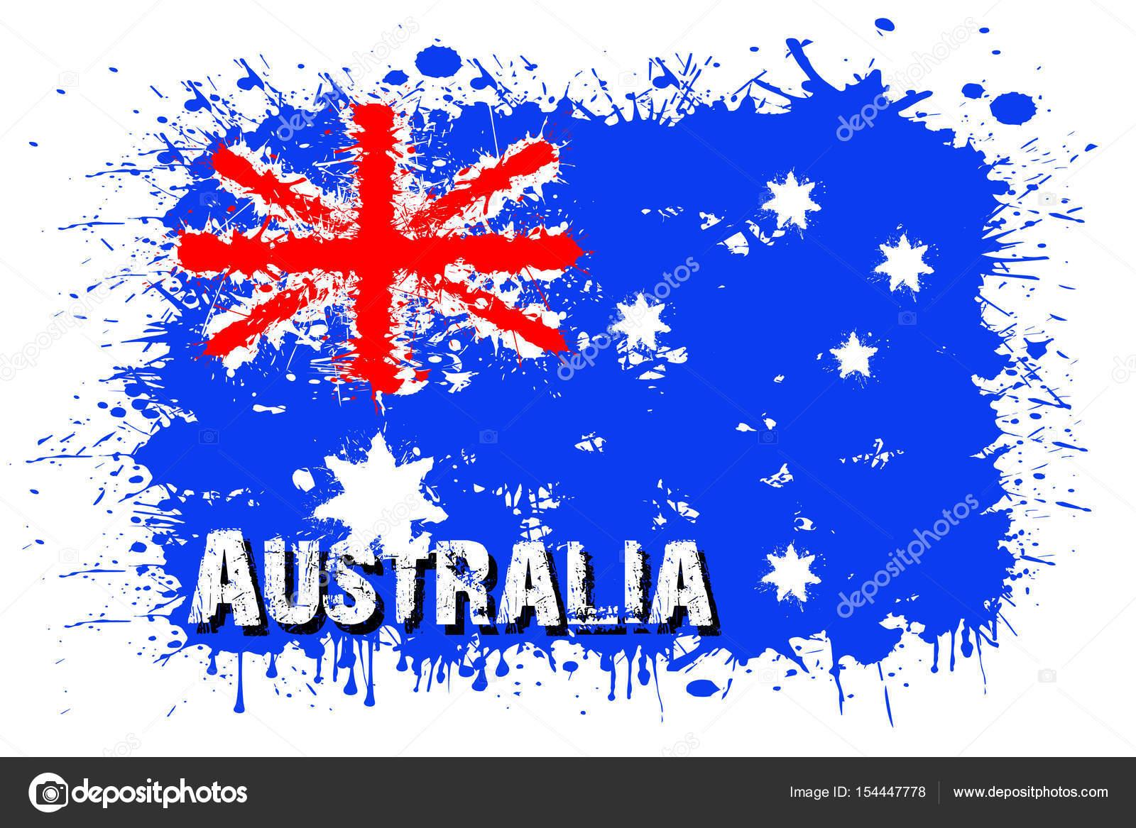 Avustralya Bayrağı Boya Lekeleri Dan Stok Vektör Mityaypg