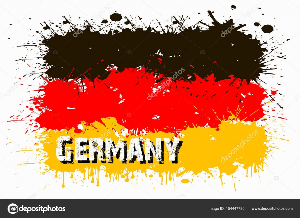 Boya Lekesi üzerinden Almanya Bayrağı Stok Vektör Mityaypg