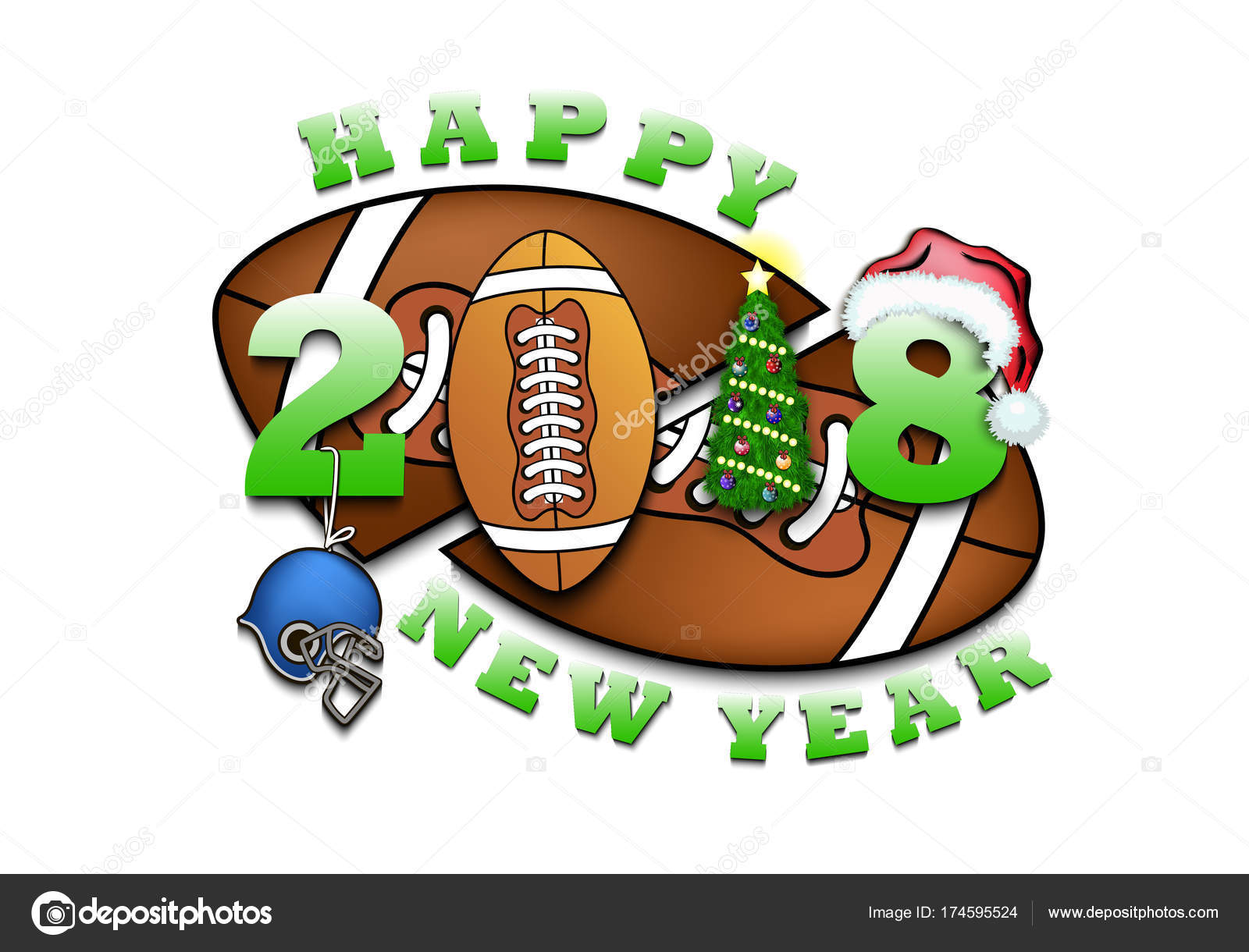 Happy New Year And Football Stock Vector C Mityay Pg 174595524
