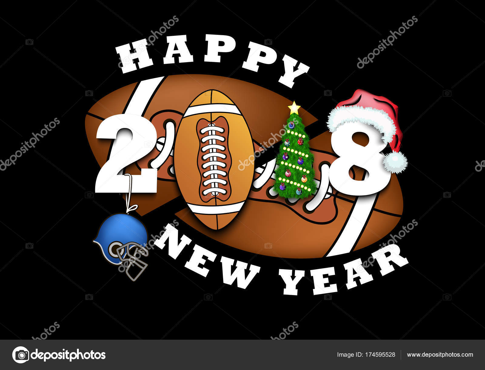 Happy New Year And Football Stock Vector C Mityay Pg 174595528