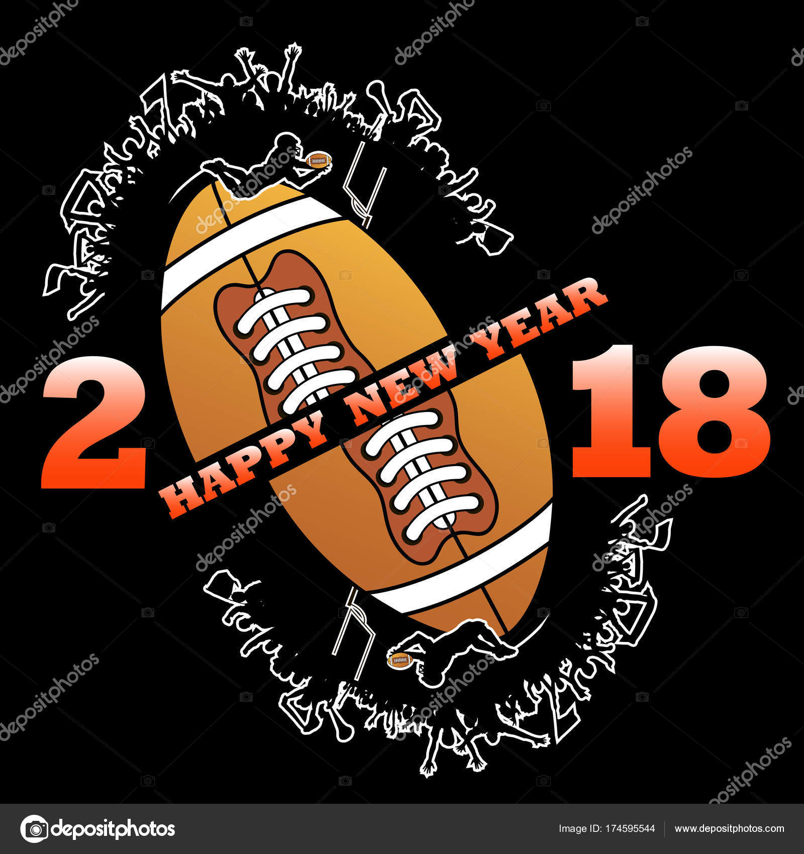 Happy New Year 2018 And Football Stock Vector C Mityay Pg 174595544