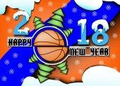 šťastný nový rok a basketbal