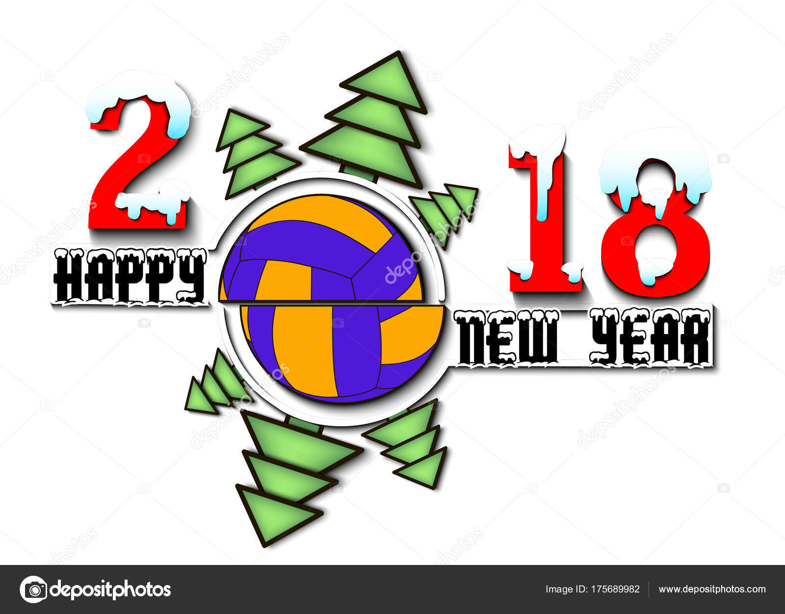 happy new year 2018 and volleyball stock vector