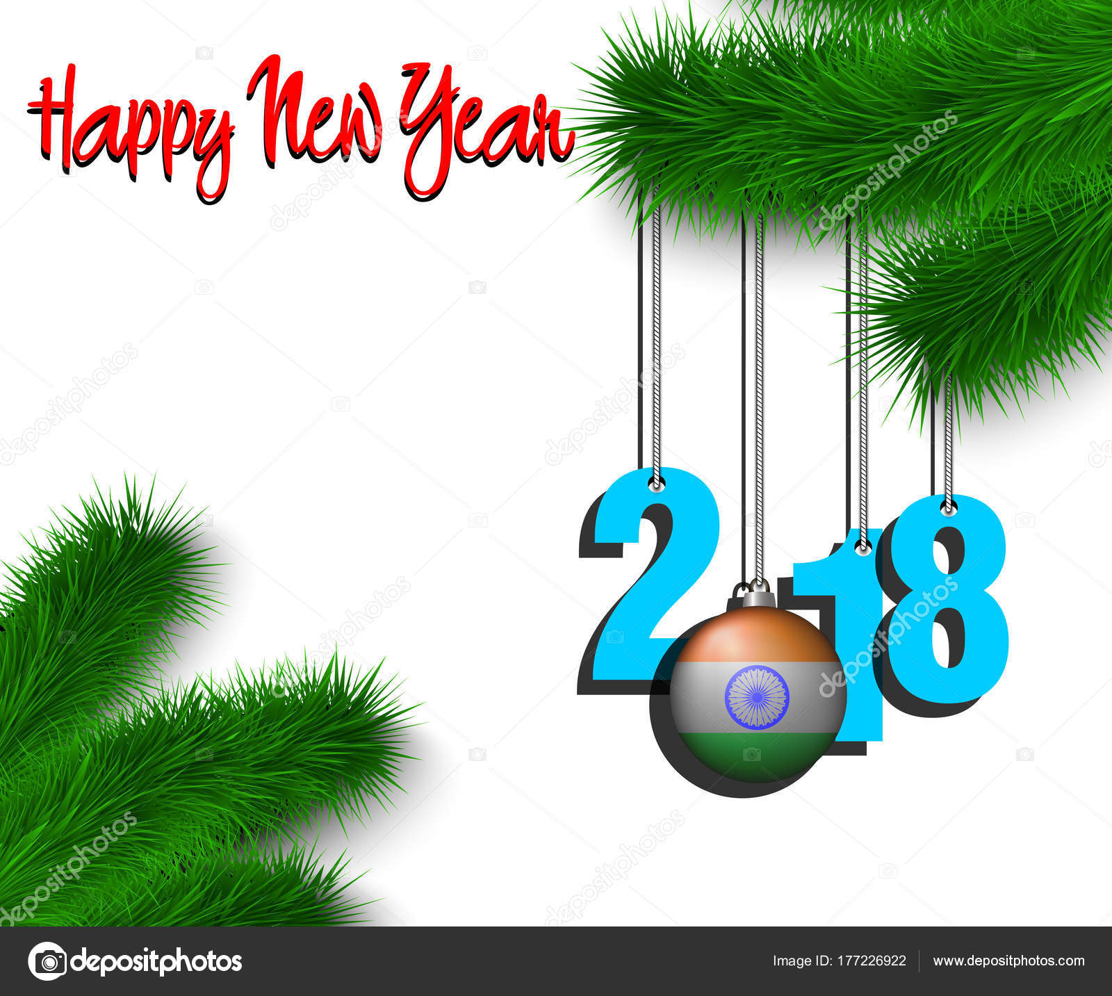 Happy New Year 2018 and ball with the India flag — Stock Vector ...