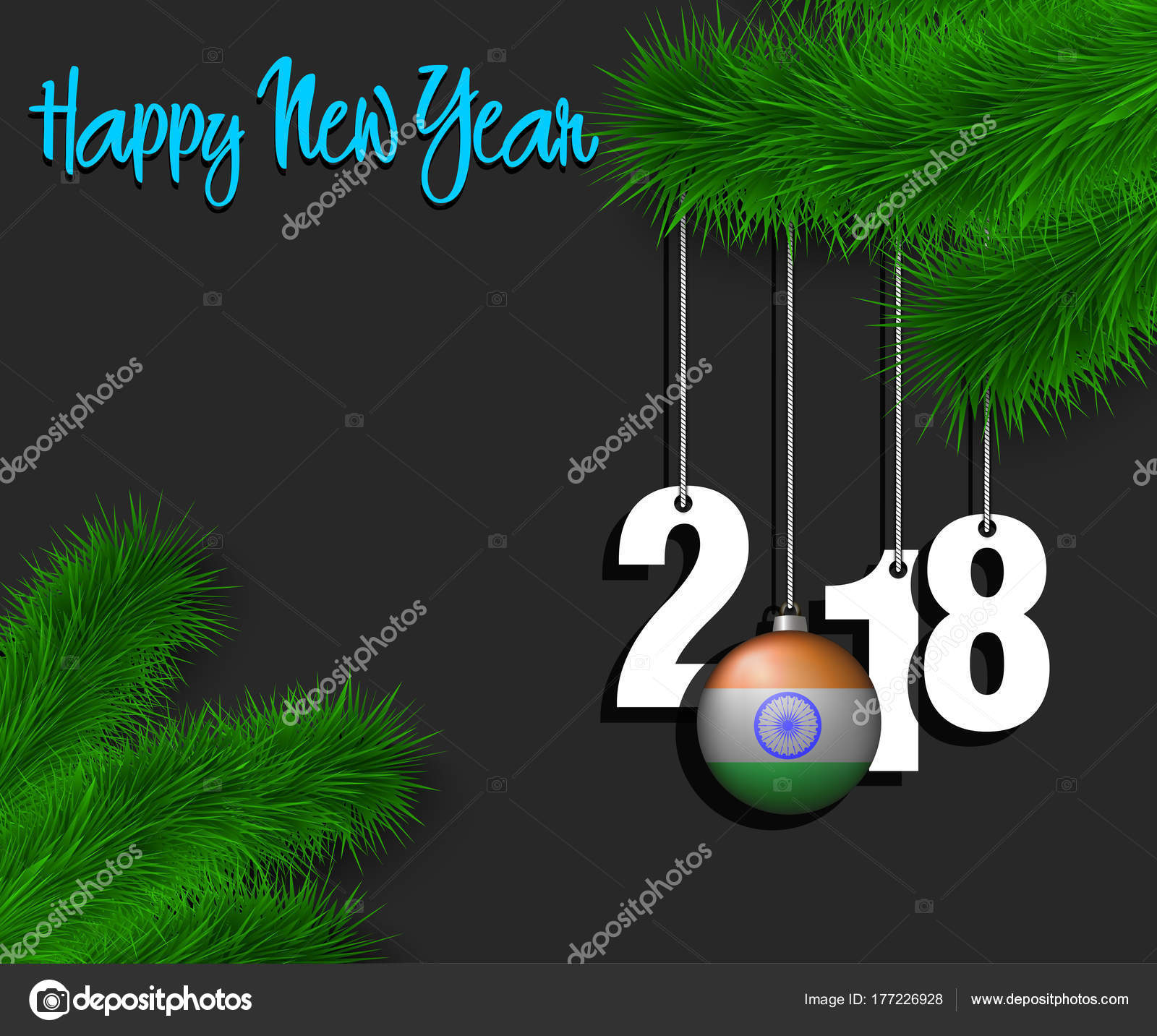 happy new year 2018 and ball with the india flag stock vector