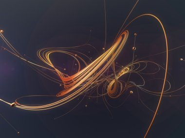Abstract gold shiny shapes on a blue background 3d rendering